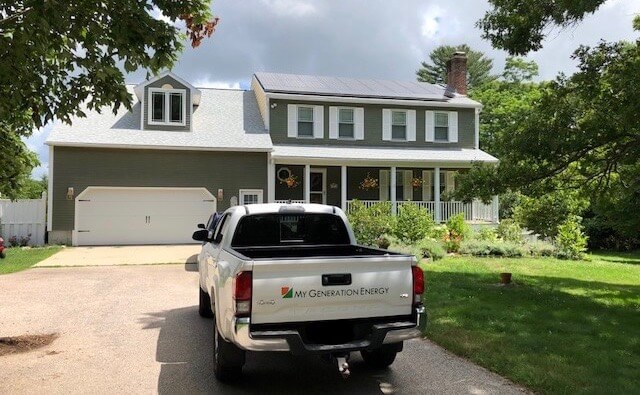 My Generation Energy truck outside home solar installation