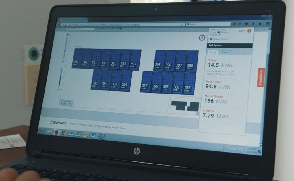 solar energy monitoring window on a laptop