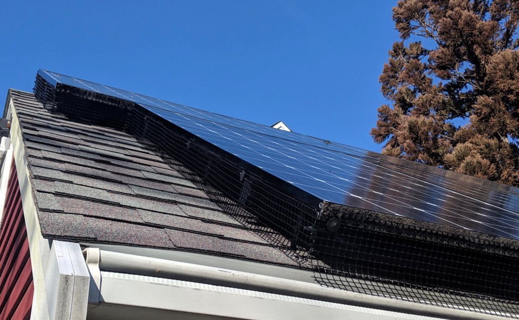 close-up of solar critter guard installed on residential home in massachusetts - My Generation Energy