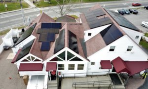 solar panels on the roof of the Hot Chocolate Sparrow in Orleans, Cape Cod, Massachusetts