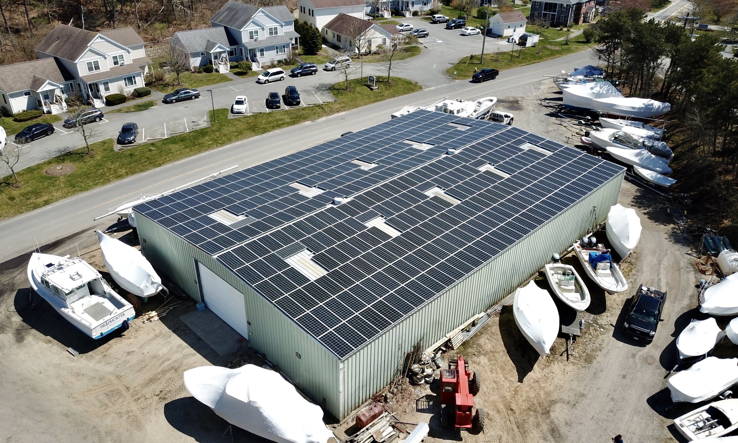 chatham commercial solar installation at stage harbor marine. Installed by My Generation Energy of Cape Cod