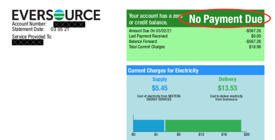Example Eversource Utility Bill with Solar Production