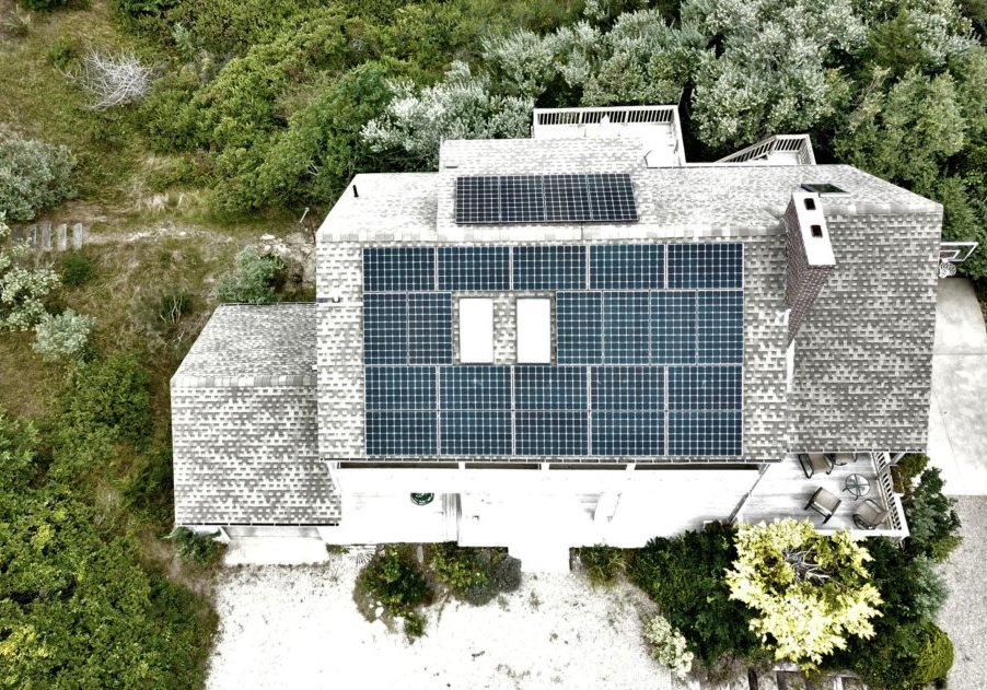 rooftop solar installation on a home in Truro, MA on Cape Cod