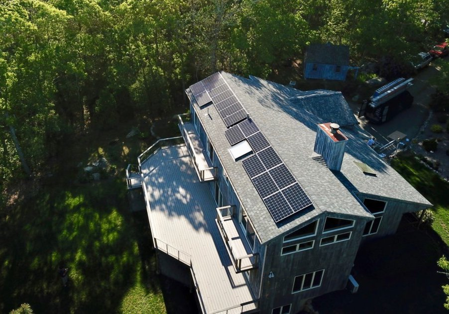 A solar array atop a Falmouth, MA home. Cape Cod-based solar installer My Generation Energy completed this project.
